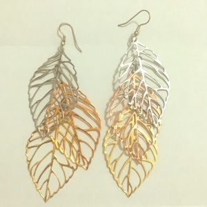 Leaf Earrings - silver, copper and gold trio